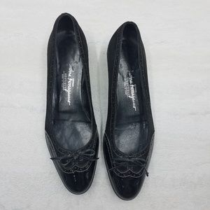 Salvatore Ferragamo Patient Leather Tipped Flats